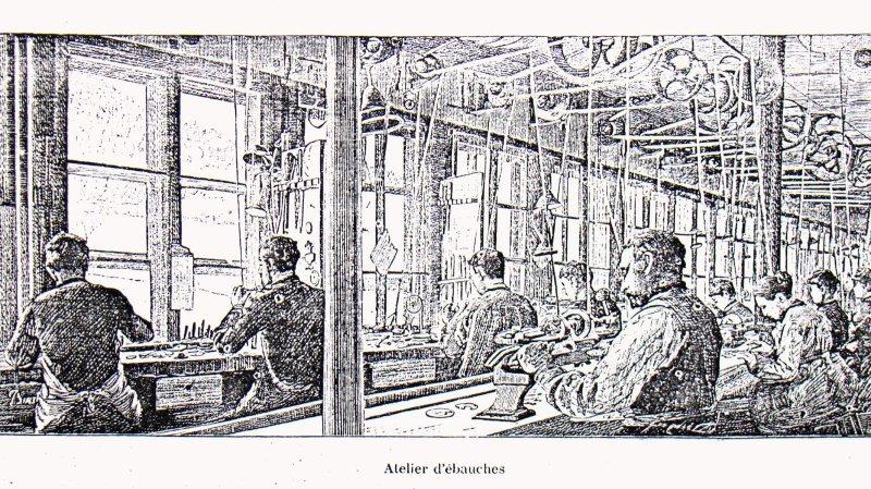 «Ateliers d'ébauches», une image illustrant le travail dans les ateliers l'horlogerie au 19e siècle.