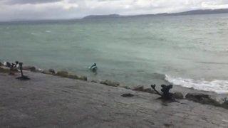 Des surfeurs sur le lac de Neuchâtel