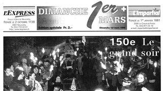 """1998: édition spéciale de """"L'Impartial"""" et """"L'Express"""" pour les 150 ans du 1er Mars"""