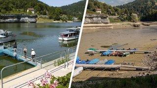 Il n'y a plus de bateaux suisses sur un lac des Brenets à sec