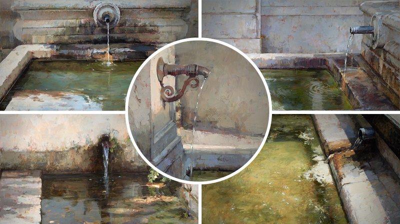 Un artiste tombé amoureux des fontaines de Neuchâtel.