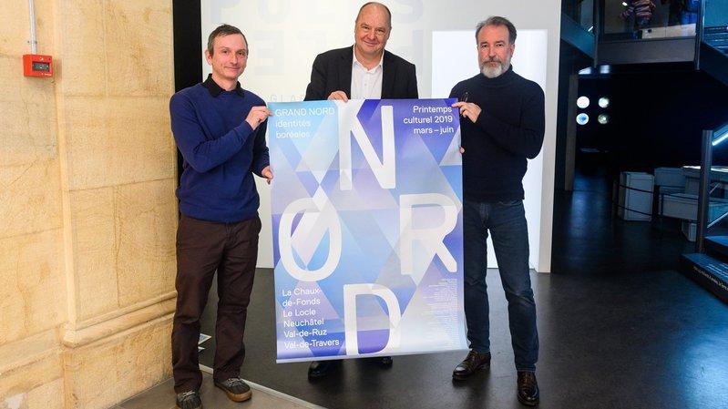 Patrick Plattet, Jean Studer et Philippe Geslin ont présenté le programme du 3e Printemps culturel neuchâtelois ce jeudi.