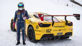 Christophe Hurni et sa Ferrari à Verbier