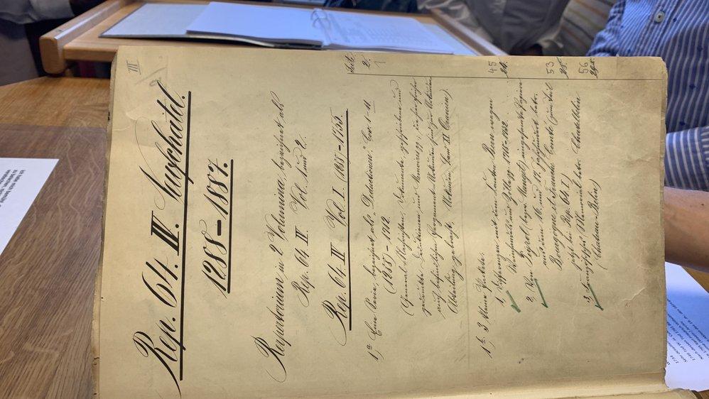 Un des répertoires des documents neuchâtelois aux archives prussiennes à Berlin.