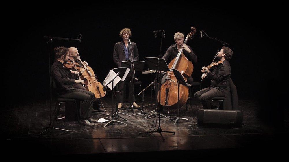 Le quatuor le Banquet interprétera une douzaine de pièces à Cernier, dont les textes ont été écrits par Nicolas Jules (debout, au milieu).