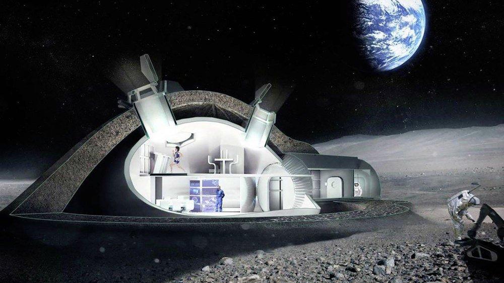 Plan de base lunaire permanente: le dôme, pressurisé et résistant aux micrométéorites et aux radiations, pourrait être construit par impression 3D.