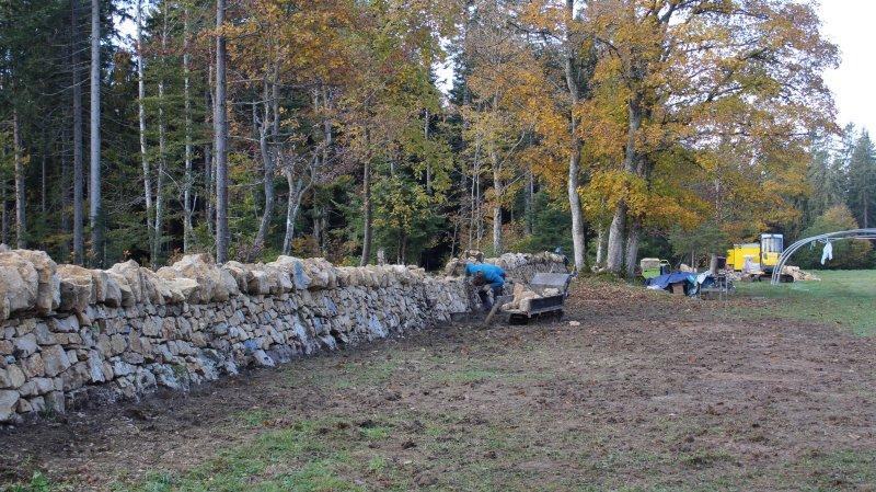 Montagne de Cernier: le projet de restauration des murs en pierres sèches touche à sa fin