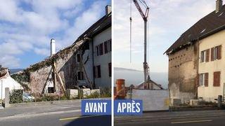 Panique à Savagnier: la façade d'une maison protégée s'est écroulée